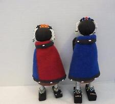 Lot 2 South African Ndebele Doll Beaded Wood Wire Cloth metal Folk Art