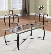 Glass Coffee Table & End Table 3 Pc Set Modern Living Room Furniture Top Metal