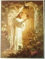"SALLMAN Vintage Christ at Heart's Door Lithograph Warner Press 6"" X 8"""