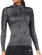 Mizuno Jacquard Graphic Half Zip Long Sleeve Womens Running Top - Grey