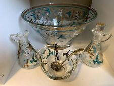Georges Briard Chip & Dip Bowl Set Blue White & Gold Glass Mid Century Modern