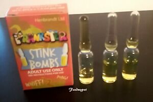 3x STINK BOMBS =1 BOX OF 3 BOMBS SMELLS OF FARTS ROTTEN EGGS SMELLY JOKE'S SMELL