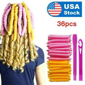36Pcs 21inch Magic Long Hair Curlers no heat Spiral Rollers Set DIY Hair Styling