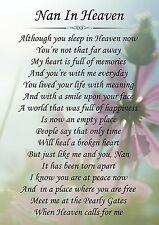 Nan In Heaven Memorial Graveside Poem Card & Free Ground Stake F144