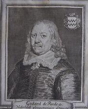 GODARD DE REEDE DE NEDERHORST ....UTRECHT.... Portrait. Gravure originale (1650)