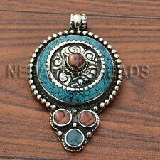 PDS288 Turquoise Coral Pendant Artisan Tibetan Silver Nepal Ethnic Tribal Eksha