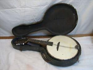 Vintage Weyman Banjo Mandolin Folk 8 String Instrument Banjolin Needs Love