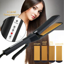 Pro 4 in 1 Replaceable Ceramic Curling Hair Crimper Straightener Flat Iron