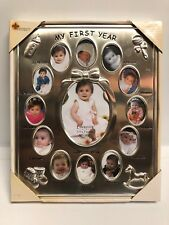 Lawrence Frames Silver Tone My First Year Baby Picture Frame 9� X 11� New