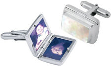 LOCKET CUFFLINKS, MOTHER OF PEARL SILVER HALLMARKED, ARI D NORMAN, FATHER'S DAY