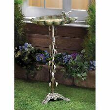 "Distressed Weathered Finish Iron Garden Birdbath Sparrow Leaf Design 27.5"" tall"
