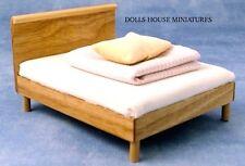 Lit moderne avec lumière en pin finition bois maison de poupées miniature chambre à coucher 1.12th échelle
