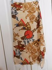 """HORSE AND INDIAN SCARF HAND ROLLED 32 X 31"""" BONE RED, BROWN BEIGE, BLACK"""