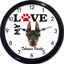 "Doberman Pinscher Dog Puppy Wall Clock  I Love My Doberman Dogs 10"""