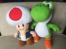 """Super Mario Yoshi Mushroom Plush Stuffed Animal Toy 8"""" & 9"""" Set"""