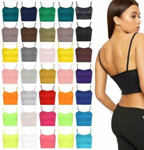 Womens Strappy Cami Bralet Gym Sports Running Crop Bra Vest Top Plain Camisole