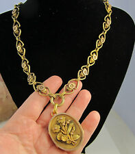Antique Locket Thick 18k Yellow Rose Gold Pearl Flower 51.5 Gram Chain Necklace