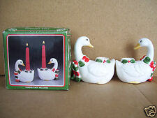 Fine Ceramic Christmas Pair Goose Candle Holders Handpainted New In Box Taiwan