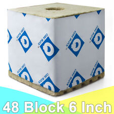 "Rockwool Blocks with Hole, 6""x 6""x 6"" Quick Drain Biggie Block, Cuttings Cubes"