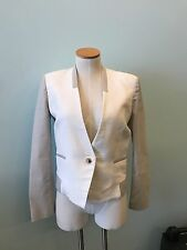 Helmut Lang white and gray cotton blend blazer jacket size 4