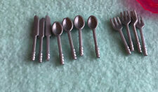BARBIE KEN DOLL HOUSE KITCHEN DINING FOOD DISHES - SET of Silver SILVERWARE