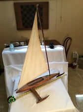 Vintage Rare Handcrafted Pond Ice Sail Boat model W/Rigging 29�Long X 35� Tall