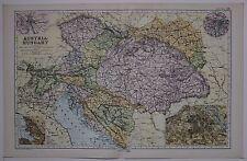 1910 ORIGINAL MAP AUSTRIA HUNGARY BOSNIA TRIEST VIENNA CITY PLAN GALICIA