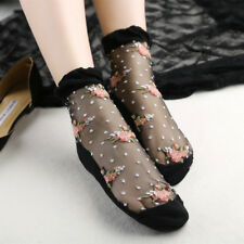 Fashion Women Ultrathin Socks Transparent Crystal Rose Elastic Short Socks Black