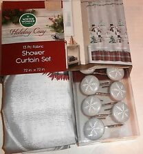 CHRISTMAS FABRIC SHOWER CURTAIN 13 Piece Set SNOWMAN FAMILY W/SNOWFLAKE HOOKS