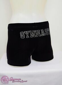 "RS Gymwear Gymnastics Shorts, Black Velvet, ""GYMNAST"" diamante detail (RSG-044)"