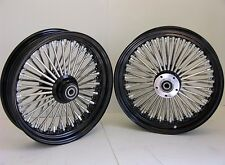 DNA MAMMOTH 52 BLACK FAT SPOKE WHEELS 16x3.5 FRONT / REAR SET SOFTAIL FL HARLEY
