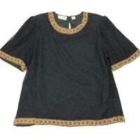 VTG Laurence Kazar Women's Black Gold Beaded 100% Silk Top • SIze 1X Plus