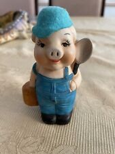 Lady Pig w/Hat Porcelain Figurine/Bell 4 inches high