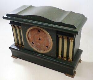 ANTIQUE GREEN PILLAR MANTEL SHELF CLOCK CASE PARTS REPAIR