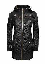 Michael Kors Hooded Quilted Mixed Media Jacket Puffer Coat L Black/Gold