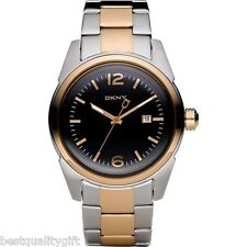 NEW-DKNY TWO,2 TONE ROSE GOLD+SILVER S/STEEL+BLACK DIAL+DATE MEN'S WATCH NY1448