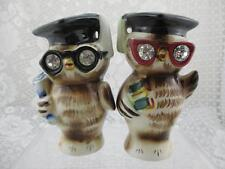 Vintage Lefton Graduate Wise Owls Salt & Pepper Shakers~Rhinestone Eyes~1956
