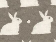 Fabric Baby Rabbits Bunnies Bunny White on Grey Flannel 1/4 Yard