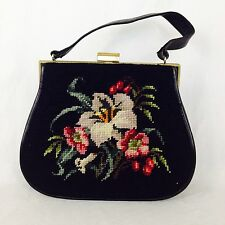 Vintage 1950's Needlepoint And Leather Structured Purse Bag