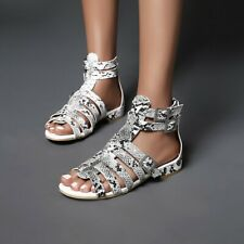 Women's Summer Snake Print Sandals Flats Buckle Hollow Out Gladiator Pumps Shoes