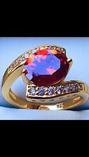 Beautiful Gold Plated On Silver Oval Ruby & CZ Cluster Ring