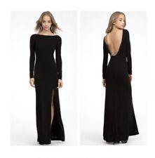 BEBE Black Open Back Zipper & Open Slit Maxi Dress Sz M
