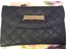 NEW IN GIFT BOX! CATHERINE MALANDRINO DARK BLUE SNAP OPEN WALLET! QUILTED ACCENT