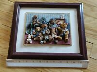 """Cherison Teddies Hand Crafted & Hand Painted Wall Art 12""""X10"""" Collectible 3d Art"""