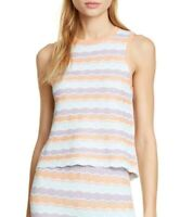 Alice + Olivia Womens Sz M Antonella Sleeveless Sweater Top Rainbow of Pastels
