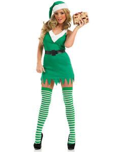 Ladies Green Santa's Little Helper Flirty  Elf Christmas Fancy Dress Size 16-18