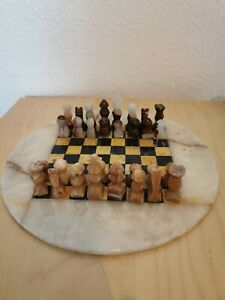 Jade Chess Set With Marble Inlaid Board Complete
