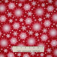 Christmas Fabric - Holiday Traditions Country Snowflake Red - Henry Glass YARD