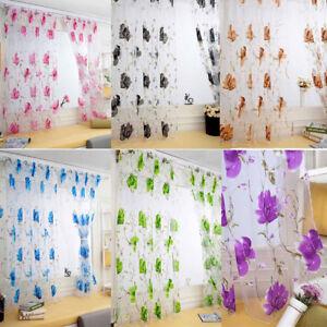 Floral Vines Leaves Tulle Door Window Curtain Drape Panel Sheer Scarf Valance AU