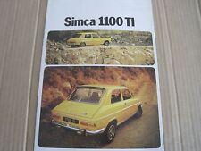 SIMCA 1100 TI BROCHURE/CATALOG 1973 in French